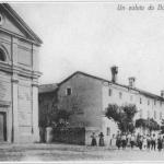 Cartolina del 1906 da Borgnano con la chiesa parrocchiale di santa Fosca